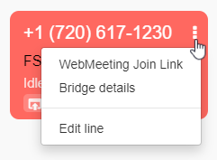 "Number tile to select ""Bridge details"" to copy the dial-in number and screen-sharing link on conferencing interface"