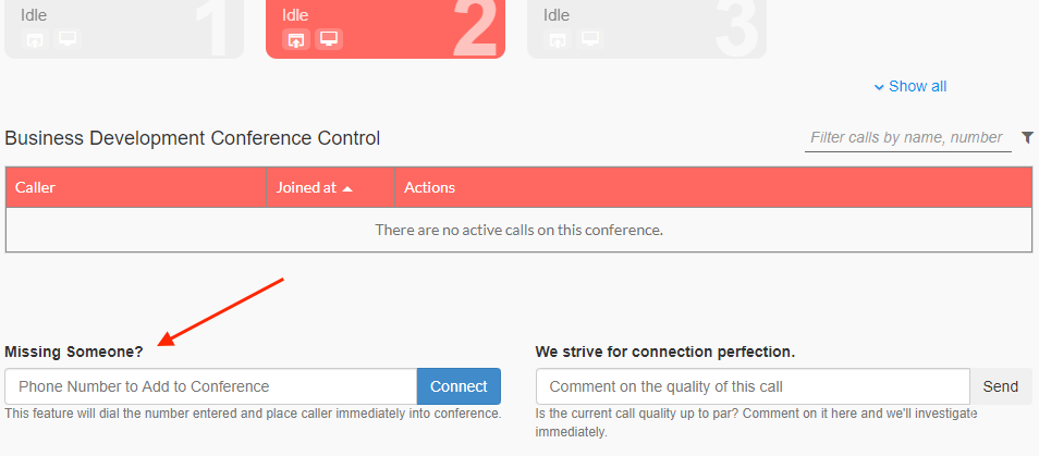 Add missing participants to audio conference calls with Branded Bridge Line