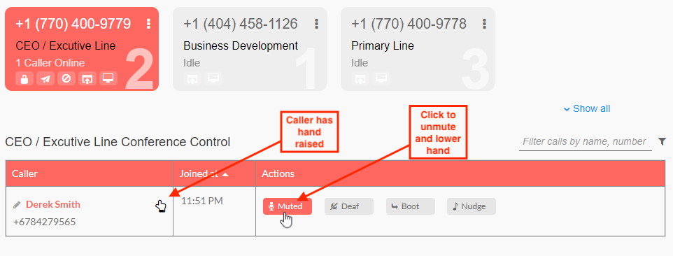 Controls on Branded Bridge Line's interface to unmute the caller and lower their hand