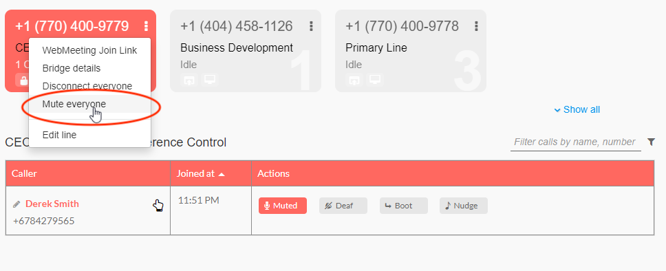 Option to mute everyone on an audio conference call from the Branded Bridge Line number tile